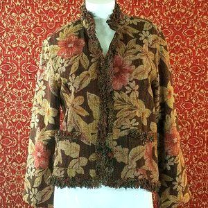 CHICO's floral tapestry Jacket 1  (S 8 -10)